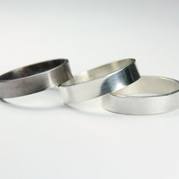 Brushed Silver Men's Ring - Simple Band for Him - Men's Wedding Ring - Brushed, Shiny or Oxidized Finish