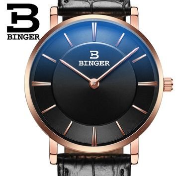 Cheap 2016 New Couple Watch BINGER Slim Style Women Fashion Quatrz Watch Men Business Wristwatch Leather Strap B-9013G