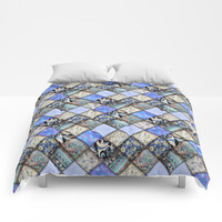 Faux Patchwork Quilting - Blues Comforters by gx9designs