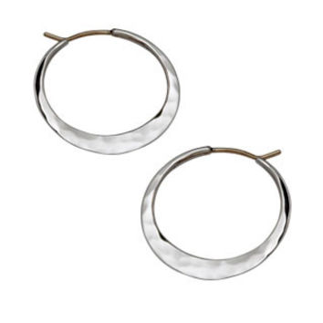 Silver Hand Hammered Hoop Earrings