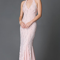 Lace Halter Floor Length Jump Prom Dress with Sequin Accents