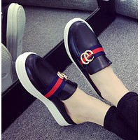 GUCCI Women Fashion Casual Platform shoes Double GG Logo Slippers