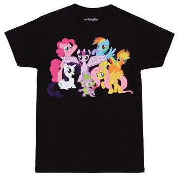 My Little Pony Mane 6 Characters Licensed Adult Unisex T-Shirts - Black