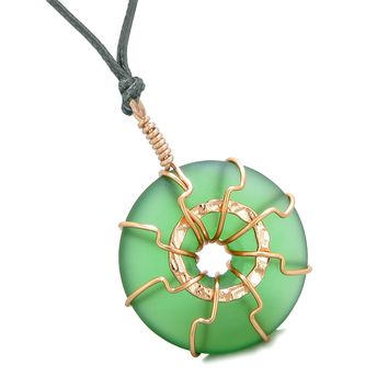 Positive Energy Sun Eternity Circle Rose-Gold-Tone Forest Green Sea Glass Donut Amulet Necklace