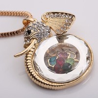 Tribal Collection Gold Elephant Necklace Pendant With Floating Charms