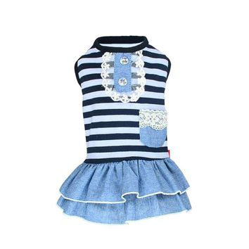 Summer Pet Dog Cute Clothes Costume Stripe Dress Tutu Denim Dress XS- XL Dog Wedding Dress