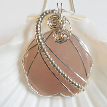 Rose Quartz Wire Wrapped Pendant, Handmade Jewelry
