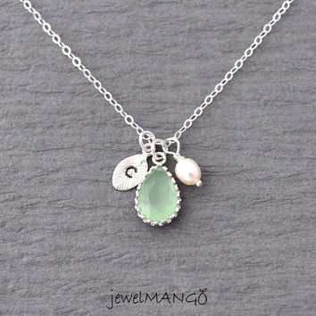 Aqua green initial necklace, bridesmaid gifts, Wedding jewelry, green, sterling silver chain, Hand stamped personalized initial necklace