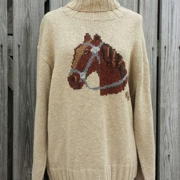 Vintage Women's Ralph Lauren Horse Sweater - Vintage Turtleneck -Tan Sweater - Sz L