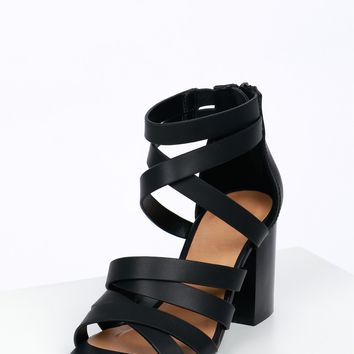 Double Strappy Wooden Heel Black