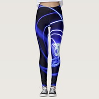 Neon blue and black light circles leggings