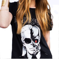2016 Summer Letter LAGERFELD Printed T-shirts Women Skull Ghost Pattern O neck T Shirt Female harajuku tee shirt femme QL2125