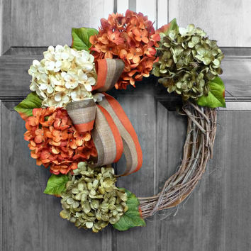 Fall Wreath, Autumn Hydrangea Wreath, Front Door Wreaths, Orange Green and Cream Wreath, Rustic Wreath, Wreaths
