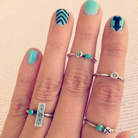 Tribe sterling silver and turquoise stack ring SET
