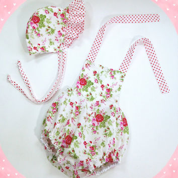 girls 18 month baby set with romper and baby bonnet bubble romper halter romper pink floral baby outfit baby summer outfit ready to ship