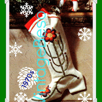 Cowboy Boot Sew Pattern Vintage 1970s Stocking Embroidery Christmas Flower Cowgirl Barrel Rider Instant Download PDF Pattern
