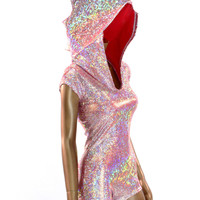 Silver on Red (PINK!) Shattered Glass Spiked Dragon Hoodie Romper