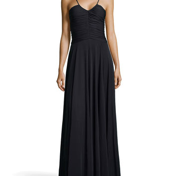 Women's Drape-Pleated V-Neck Gown, Black - Halston Heritage - Black