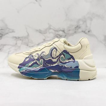 Gucci Rhyton Leather Sneaker With Wave