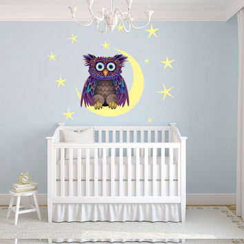 "50% Off Owl on The Moon kids room, nursery vinyl wall decal graphics 29""x29"" Slightly Blemished"