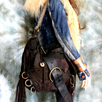 Large dark brown & black leather distressed bag fringe hobo unique purse free boho people bohemian sweet smoke fringed bag gypsy festival