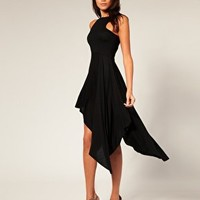 ASOS | ASOS High Neck Asymmetric Full Skirt Dress at ASOS