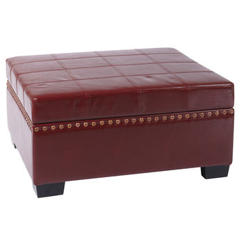 Office Star Detour Storage Ottoman with Tray in Crimson Red Bonded Leather [DTR3630-CBD]