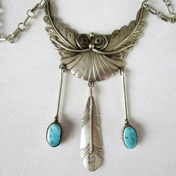 Navajo Paula Armstrong Sterling Silver Turquoise Feather Bib Necklace