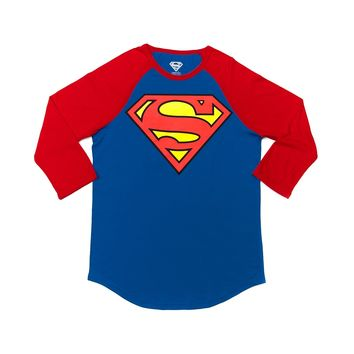 Mens Superman Raglan Tee, Blue Red | Journeys Shoes