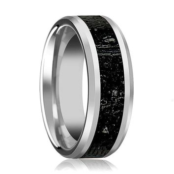 Men's Polished Tungsten Wedding Band with Black & Gray Lava Rock Stone Inlay & Beveled Edges
