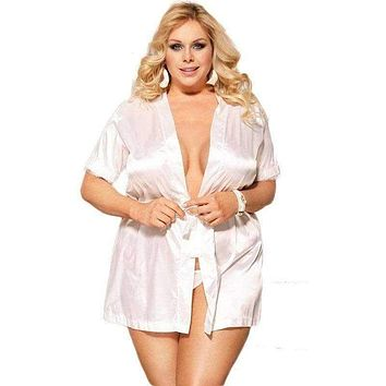 Female Lingerie Bathrobes Summer Short Sleeve Babydoll Nightgown Lace Patchwork XL-5XL Sexy Robes Sleepwear