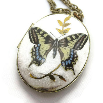 Enamel Locket Necklace - Guilloche Butterfly, Costume Jewelry