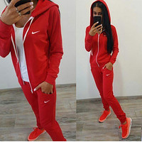 Nike Cardigan Jacket Coat Pants Trousers Set Two-Piece Sportswear