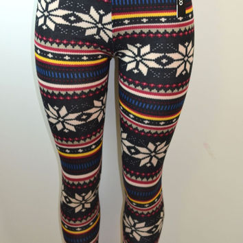Baslco Fair Isle Print High Waist Leggings,Black Multicolored One Size