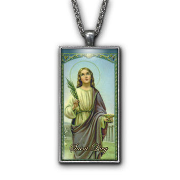Saint Lucy Painting Religious Pendant Necklace Jewelry