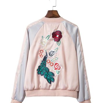 style fashion exquisite embroidery color long sleeve baseball uniform jacket collar