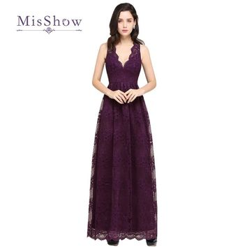 MisShow New Designs 9 Colors Lace Dress Cheap V Neck Sheer Back Long Prom Dresses 2017 Evening Party Gowns Vestido De Festa