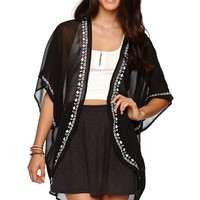 LA Hearts Embroidered Edge Tunic Kimono - Womens Shirts - Black - One