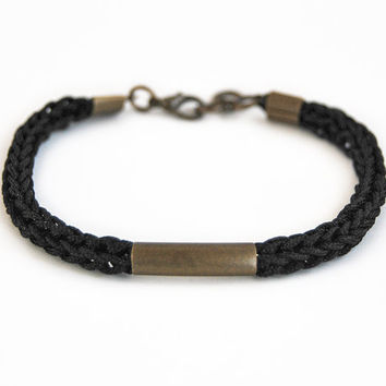Men's bracelet with bar, black cord bracelet for him, male bracelet, gift for men