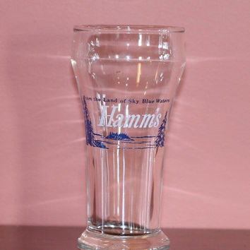 Hamm's Beer drinking bar glass, white lettering, blue lettering and graphics