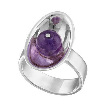 Sterling Silver Ring With Stone, Amethyst ring, Amethyst engagement ring, Purple ring, Unique silver rings