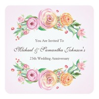 25th Anniversary Party Elegant Floral Invitation