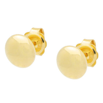 Fronay Jewelry Sterling Silver Gold Button Bead Ball Stud Earrings: 9mm Mirror Finish