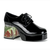 3 1/2 Inch Men's Shoes Platform Filled Heel Fish Retro Disco Black E