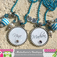 Custom Personalized Single Bezel Pendant Necklace Keychain Zipper Pull Beaded 925 Silver Swarovski Crystals Pearls Big Sis Lil Sis Sisters