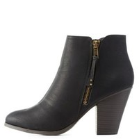 Black Side-Zip Chunky Heel Booties by Charlotte Russe