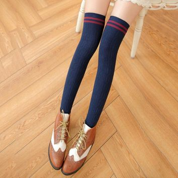 Ladies Over Knee Socks Striped High Fashion Long Women Stocking Girls Women Knit Cotton Long Striped Thigh High Socks