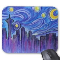 Starry Night Over Seattle Mouse Pad