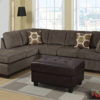 Salerno Reversible Sectional Sofa with Free Pillows and Ottoman
