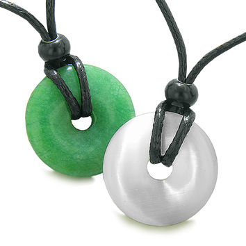 Yin Yang Energy Best Friends Love Couples Lucky Coin Donuts Green Quartz White Cats Eye Amulet Necklaces